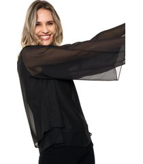 blusa negra odas doble