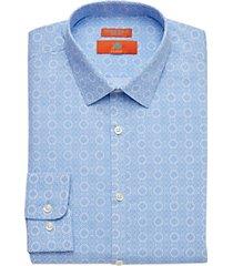 egara orange extreme slim fit dress shirt blue medallion print