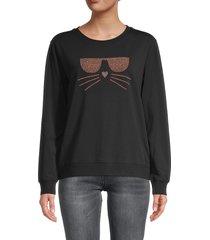 karl lagerfeld paris women's embellished choupette sweatshirt - black rose gold - size xxs
