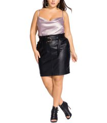 city chic trendy plus size belted faux-leather pencil skirt