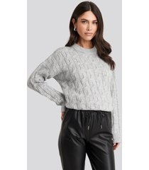 na-kd cable knitted oversized sweater - grey