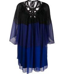 alberta ferretti sheer mini shift dress - blue