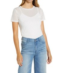 women's halogen crewneck mesh top, size medium - ivory
