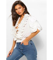 blouse met extreme pofmouwen en ruches, wit