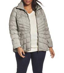 plus size women's bernardo packable water resistant down & ecoplume coat, size 1x - grey