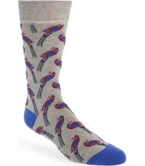 men's ted baker london bird print crew socks, size one size - grey