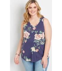 maurices plus size womens 24/7 blue floral v neck tank top
