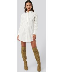 na-kd classic gathered waist mini shirt dress - white