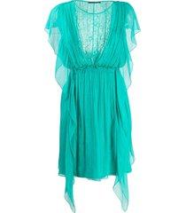 alberta ferretti floral lace panel silk dress - green