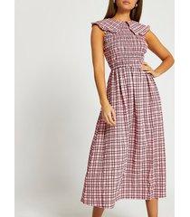 river island womens pink oversized collar gingham midi dress