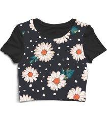 blusa blusinha cropped tshirt camiseta feminina flor florida preto