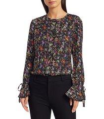 derek lam women's lurex floral silk-blend bell-sleeve top - black multicolor - size 2