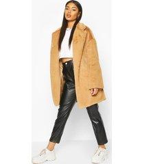 faux fur belted robe coat, camel