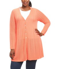 plus size women's foxcroft annette maxi cardigan, size 2x - orange