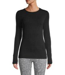 splendid women's classic 2x1 rib-knit t-shirt - black - size xs