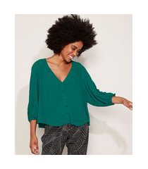 camisa feminina ampla manga longa bufante decote v verde