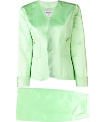 chanel pre-owned two-piece skirt suit - green