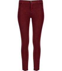 pantalón mujer dril desflecado vino color vino, talla 6