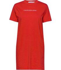 institutional t-shir korte jurk rood calvin klein jeans