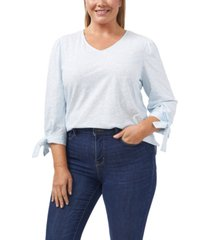plus size tie sleeve countryside ditsy knit top