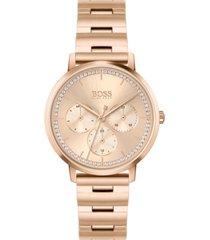 hugo boss women's prima carnation gold-tone stainless steel bracelet watch 35mm