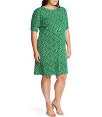 plus size women's cece ruched sleeve floral print dress, size 1x - green