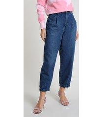 calça jeans feminina baggy cintura super alta azul escuro