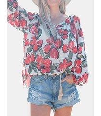 camicetta con scollo a v manica lunga con stampa floreale a fascia per donna