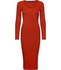 jena knits v neck dress knälång klänning röd french connection