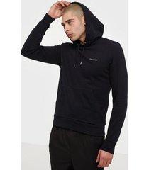 calvin klein logo embroidery hoodie tröjor black