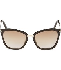 women's 54mm swarovski crystal-embellished square sunglasses - brown