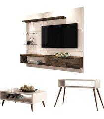 painel tv ores com mesa de centro lucy e aparador quad off white/deck - hb móveis