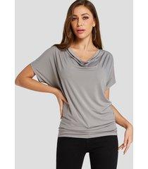 yoins basics camiseta gris plisada diseño con pliegues drapeados y mangas de murciélago