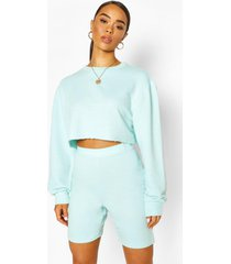 crew neck raw hem cropped sweat top, mint