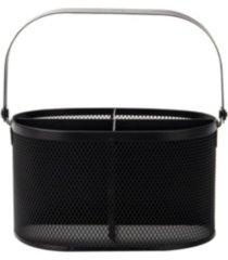 mind reader 4 section oblong steel mesh utensil holder with handle