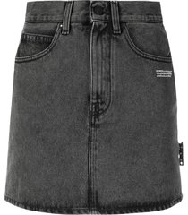 off-white logo print denim skirt - grey