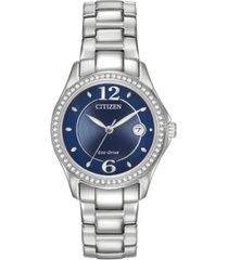 citizen women's eco-drive swarovski crystal-accented stainless steel bracelet watch 29mm fe1140-86l
