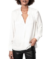 women's zadig & voltaire tink blouse, size large - white