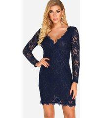 azul marino sin espalda diseño cuello en v detalles de encaje mini vestido