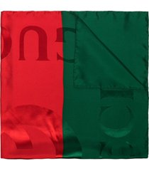 gucci red and green gg logo silk scarf