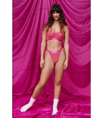 womens cupped design lace bralette and panty set with mesh back - pink