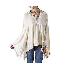 pima cotton hooded poncho, 'trendy ecru' (peru)