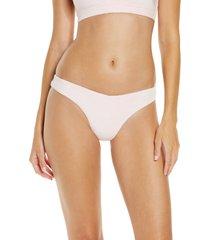 women's frankies bikinis barb terry bikini bottoms, size x-small - pink