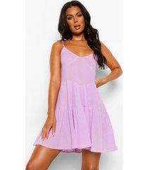 gekreukelde katoenen strand jurk met ceintuur en laagjes, lilac