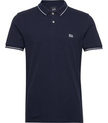 pique polo polos short-sleeved blå lee jeans
