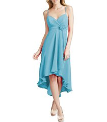 dislax spaghetti straps high low chiffon bridesmaid dresses blue us 14
