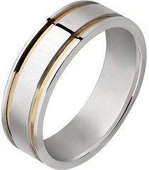 aliança de prata com fio de ouro