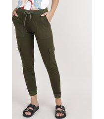 calça de moletom feminina cargo básica cintura média verde militar