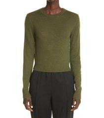 jil sander purl stitch wool sweater, size 4 us in dark green at nordstrom