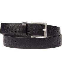 emporio armani black logo leather belt